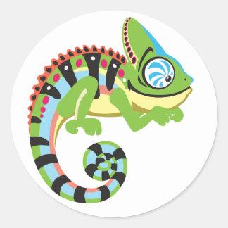 cartoon chameleon classic round sticker