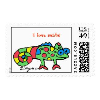 Cartoon Chameleon for Christmas Postage