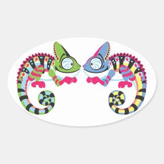 cartoon chameleon oval sticker