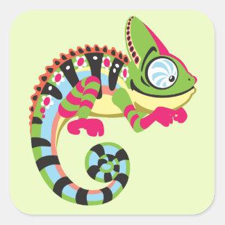 cartoon chameleon square sticker