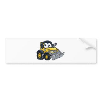 Cartoon Character Digger Bulldozer Bumper Sticker