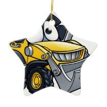 Cartoon Character Digger Bulldozer Ceramic Ornament