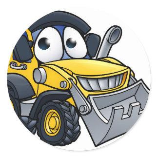 Cartoon Character Digger Bulldozer Classic Round Sticker