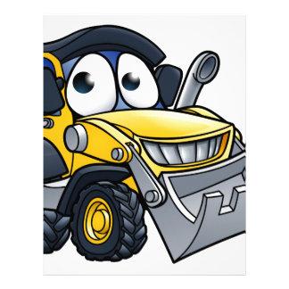 Cartoon Character Digger Bulldozer Letterhead