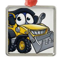 Cartoon Character Digger Bulldozer Metal Ornament