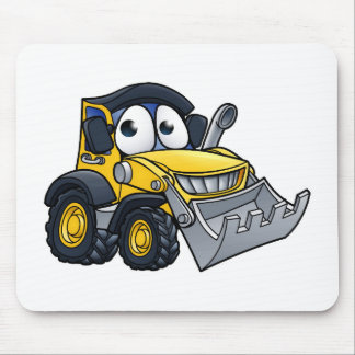 Cartoon Character Digger Bulldozer Mouse Pad