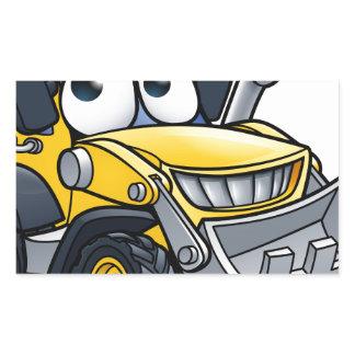 Cartoon Character Digger Bulldozer Rectangular Sticker