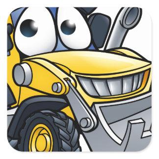 Cartoon Character Digger Bulldozer Square Sticker