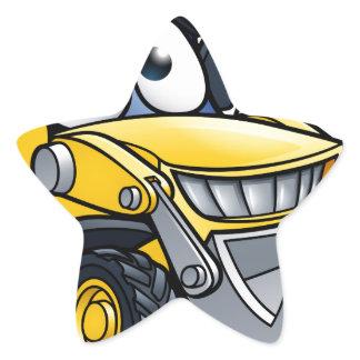 Cartoon Character Digger Bulldozer Star Sticker