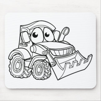 Cartoon Character Digger Bulldozer Vehicle Mouse Pad
