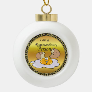 cartoon character fried egg with big smile ceramic ball christmas ornament