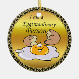 cartoon character fried egg with big smile ceramic ornament
