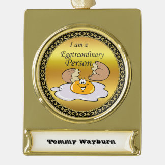 cartoon character fried egg with big smile gold plated banner ornament