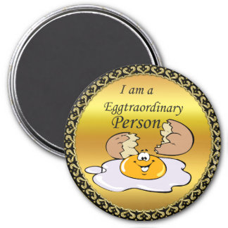 cartoon character fried egg with big smile magnet