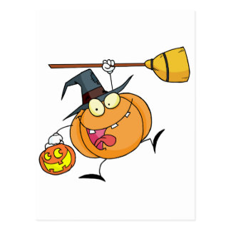 Cartoon Character Halloween Happy Pumkin with a br Postcard