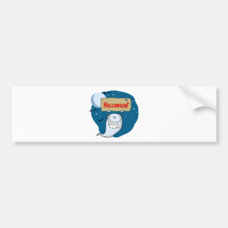 Cartoon Character Happy ghost with plate Bumper Sticker