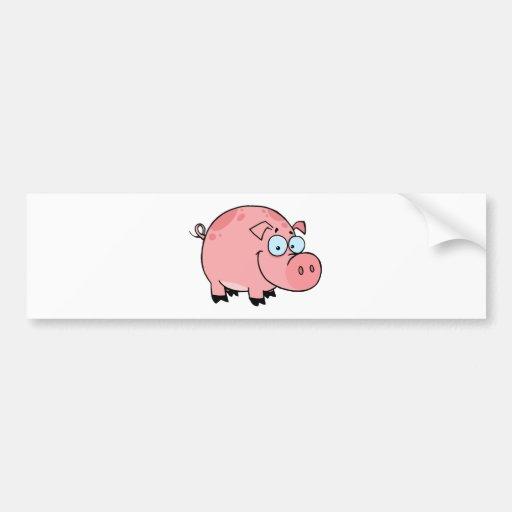 Cartoon Character Happy Pig Bumper Sticker