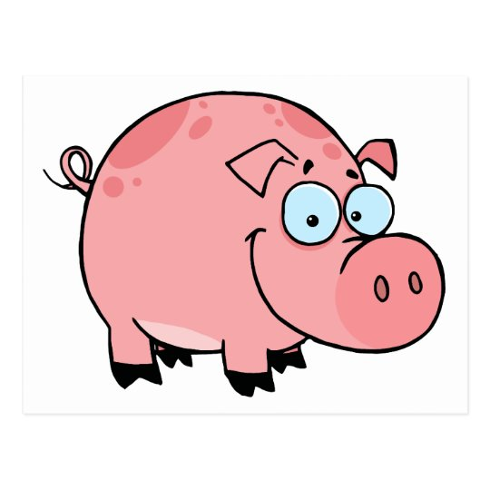 Cartoon Character Happy Pig Postcard