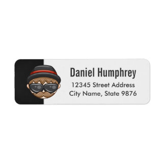 Cartoon Character Hipster Guy on Black and White Label