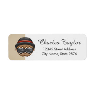 Cartoon Character Hipster Guy on Ivory Label