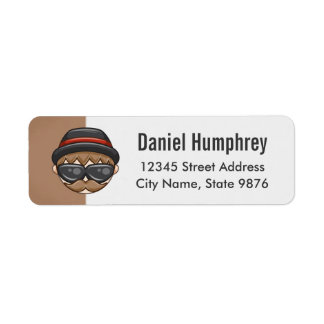 Cartoon Character Hipster Guy on Mocha Brown Label