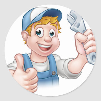 Cartoon Character Mechanic or Plumber Classic Round Sticker