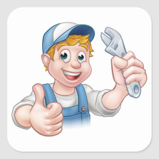 Cartoon Character Mechanic or Plumber Square Sticker