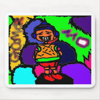 Cartoon character(Mo)w/ multi colored background Mouse Pad