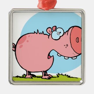 Cartoon Character Pig Looks Scared Metal Ornament