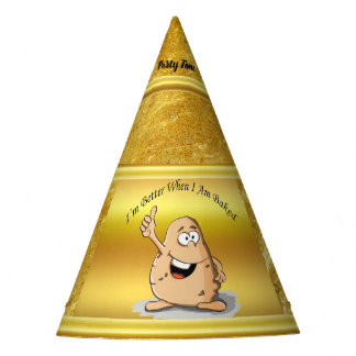 cartoon character potato with big eyes 2 party hat