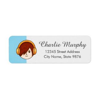 Cartoon Character Red Head Boy on Aqua Blue Label