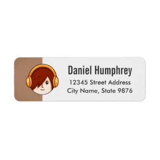 Cartoon Character Red Head Boy on Chestnut Brown Label