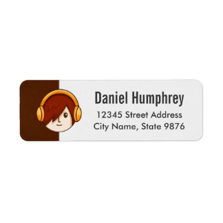 Cartoon Character Red Head Boy on Chocolate Brown Label