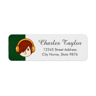 Cartoon Character Red Head Boy on Forest Green Label