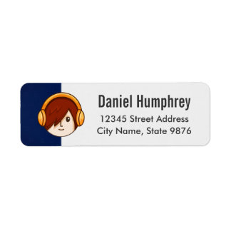 Cartoon Character Red Head Boy on Navy Blue Label