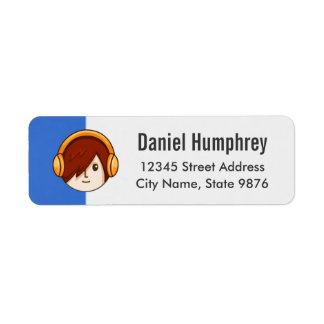 Cartoon Character Red Head Boy on Sapphire Blue Label