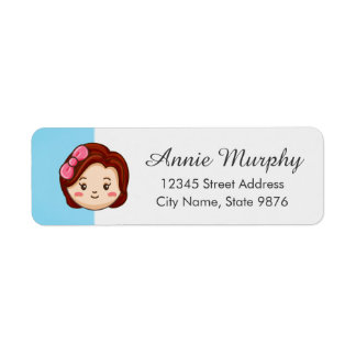 Cartoon Character Red Head Girl on Aqua Blue Label
