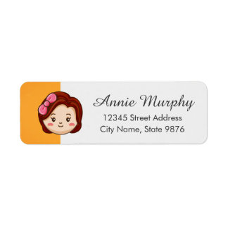 Cartoon Character Red Head Girl on Gold Label