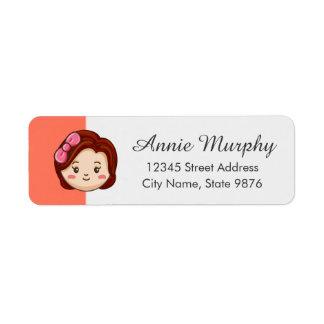 Cartoon Character Red Head Girl on Salmon Label