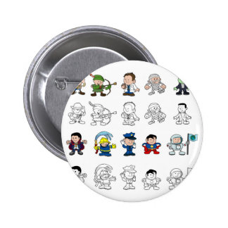 Cartoon characters set pinback buttons