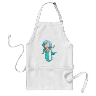 Cartoon Cheerful Mermaid Adult Apron