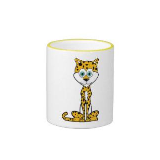 Cartoon Cheetah Ringer Coffee Mug