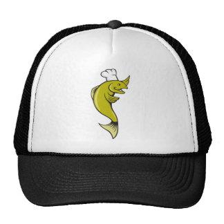 Cartoon Chef Baker Cook Trout Fish Trucker Hat