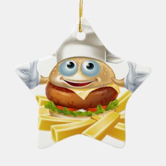 Cartoon chef burger and fries ceramic ornament