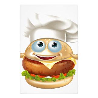 Cartoon chef burger mascot character stationery
