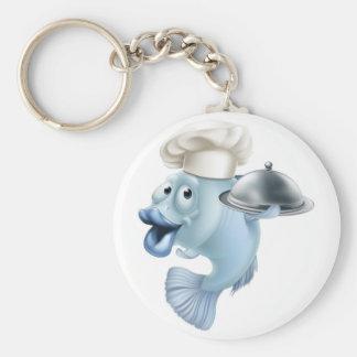 Cartoon chef fish and cloche basic round button keychain