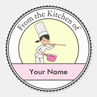 Cartoon Chef Girl Classic Round Sticker