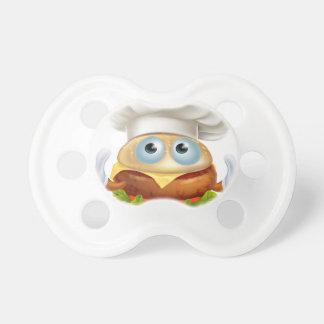 Cartoon chef hamburger character pacifiers