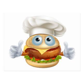 Cartoon chef hamburger character post cards