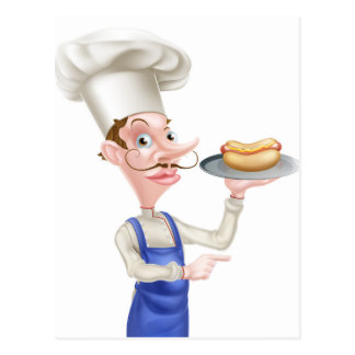 Cartoon Chef Holding a Hotdog Postcard